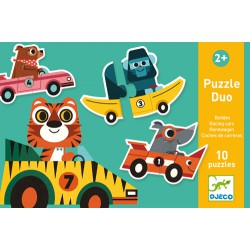 Djeco 10 Puzzles of 2 pcs duo Racing cars