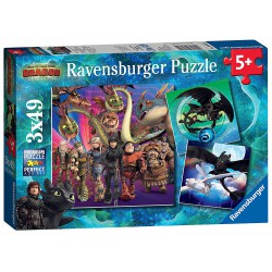 Ravensburger Puzzle 3x49 pcs How to Train your Dragon