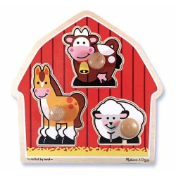 Melissa & Doug Jumbo Knob Puzzle Barnyard Animals (3 Pieces)
