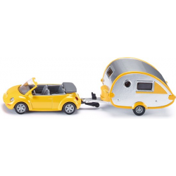 Siku Miniature VW New Beetle Cabriolet with Caravan