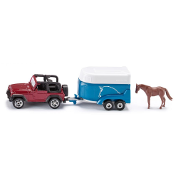 Siku Miniature Jeep with Horse Trailer