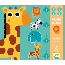 Djeco Primo Puzzle - In the jungle - 3,4,5,6, pieces