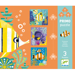 Djeco Primo Puzzle - Fishes - 9,12,16 pieces