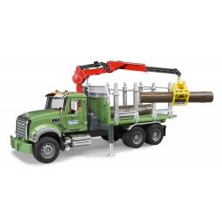 Bruder - MACK Granite Timber truck with loading crane and 3 trunks