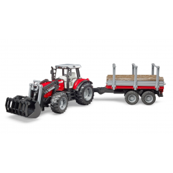 Bruder - Massey Ferguson + Frontloader and timber trailer