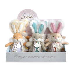 Doudou et Cie Doudou Bunny White - Dummy holder with rattle 21 cm assorted