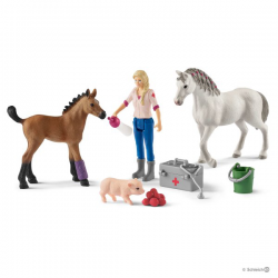 Schleich - Vet visiting mare and foal