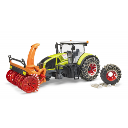Bruder Claas Axion 950 with chains and snow blower