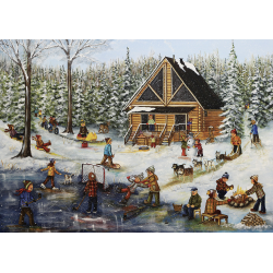 Trefl Puzzle 1000 pcs Genest: Winter at the log Cabin