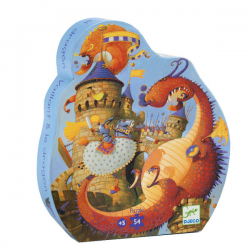 Djeco - Silhouette Puzzle - Vaillant & the dragon 54 pces