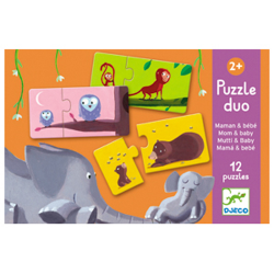 Djeco Puzzle Duo - Mom and Baby (6 X 2 PCs)